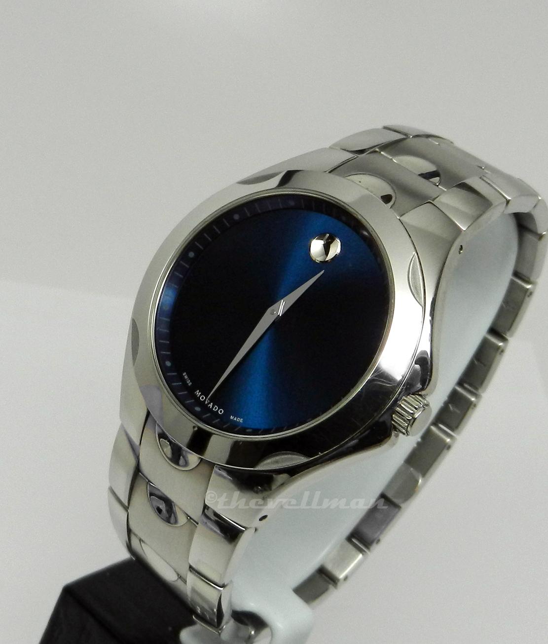 Mens Authentic Swiss Made Movado Luno Sport 0606380 Blue Museum Dial Watch EBay